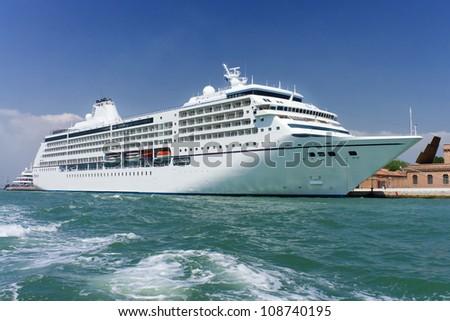 Cruise ship docked in Venice, Italy - stock photo