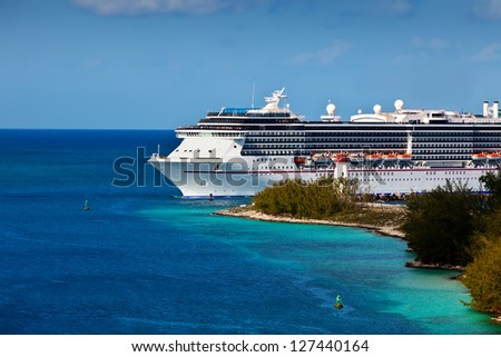 Cruise ship entering port of Nassau Bahamas