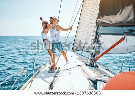 Cruise ship holiday travel vacation – Happy couple enjoying in cruise #1387638503