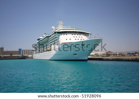 Cruise ship in a port.