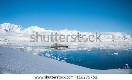 Cruise ship in Antarctica, view from the peak