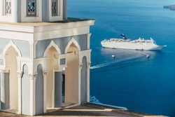 Cruise ship in Caldera Santorini