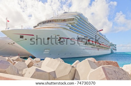 Cruise Ship in Port at St. Maarten, Caribbean