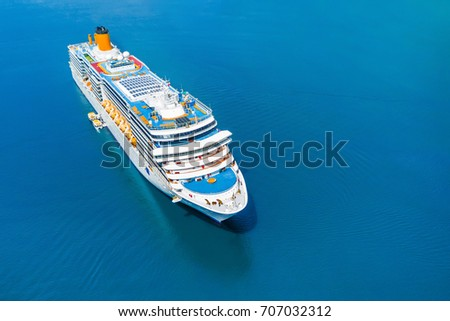 Cruise ship in the blue sea #707032312