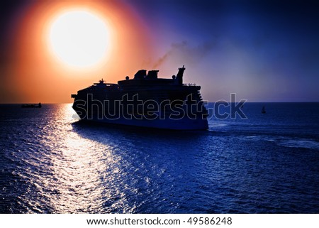 Cruise Ship in the Caribbean Sunset