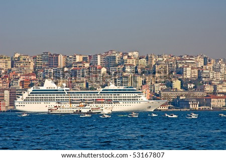 Cruise ship in the Istanbul harbor