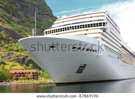 cruise ship in the port of Flaam, Aurlandsfjord, Sognefjord