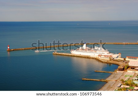 Cruise ship in the port of Sochi, Russia (top view)