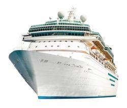Cruise ship isolated on white background, modern ocean liner