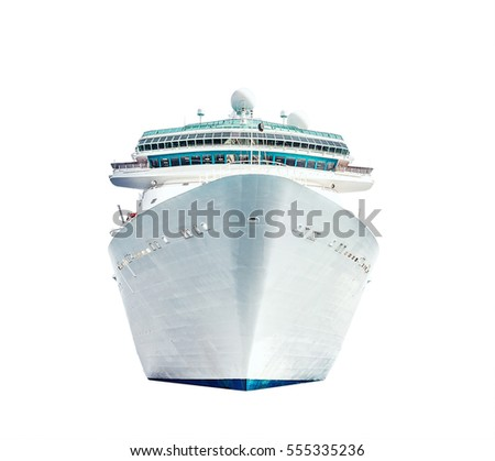 Cruise ship isolated on white background, ocean liner #555335236