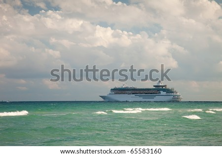 Cruise Ship Leaving Port of Miami, Florida
