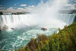 Cruise ship near big Horseshoe fall, Niagara falls