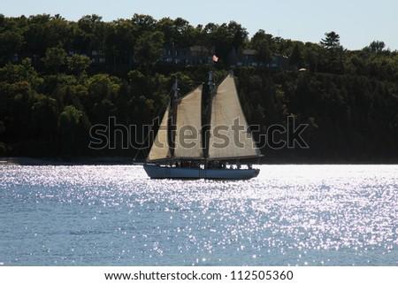 Cruise ship on Lake Michigan , Door County.