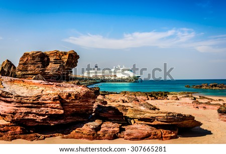 Cruise ship on the ocean, docked in Broome,Western Australia at the end of the jetty