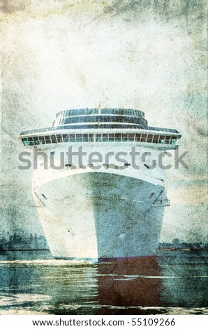 Cruise ship.Photo in vintage image style.