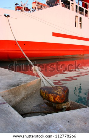 Cruise ship rope moored to mole in Zakynthos port