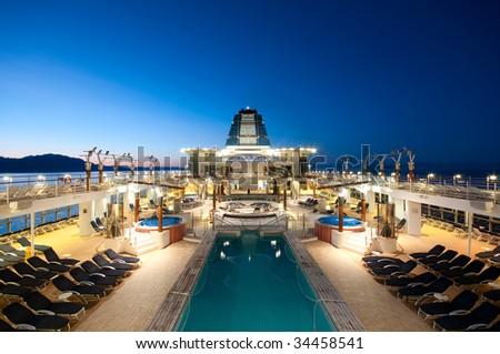 Cruise ship sailing in Alaska at dusk