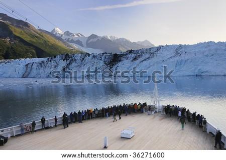 Cruise ship stops at Alaska Glacier Bay National Park