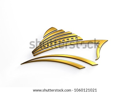 Cruise Ship Tour Gold Logo. 3D Render Illustration