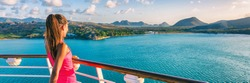 Cruise ship tourist woman Caribbean travel vacation banner. Panoramic crop of girl enjoying sunset view from boat deck leaving port of Basseterre, St. Lucia, tropical island.
