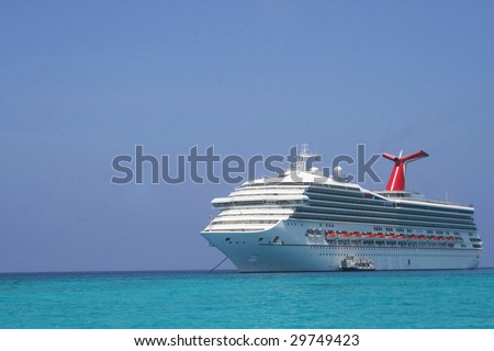 Cruise Ship with tender on side