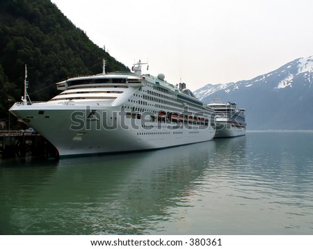 Cruise ships docked in Skagway, Alaska.