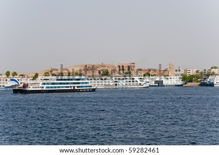 Cruise ships gather at Kom Ombo on the Nile, Egypt.