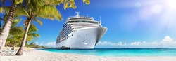 Cruise To Caribbean With Palm Trees - Tropical Beach Holiday