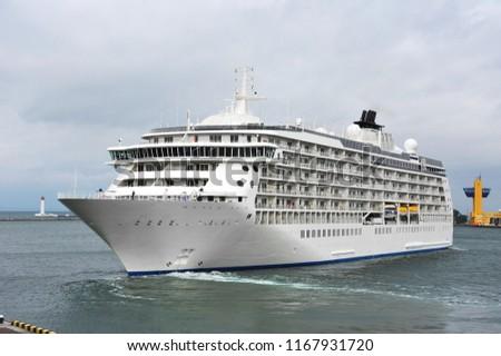 Cruise tourist ship mooring in port of Odessa, Ukraine #1167931720