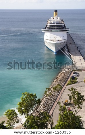 Cruiseship docking in a caribbean port