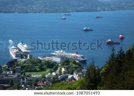 Cruiseships in the harbour of Bergen in Norway
