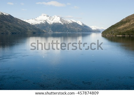 Cruising in Glacier Alley - Patagonia Argentina - Landscape of beautiful mountains, glaciers and waterfall stock photo