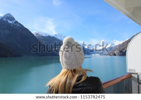 Cruising Off the Alaskan Coast. Beautiful mountains and Ice- Great for a background or banner