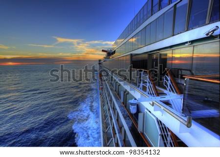 Cruising on a cruise ship early morning sunrise