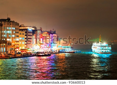 Cruising ship docking on Galata pier on Bosporus, Istanbul, Turkey