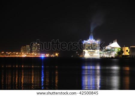 Cruising ship in Port of Miami at night
