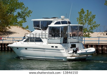 cruising yacht in the channel