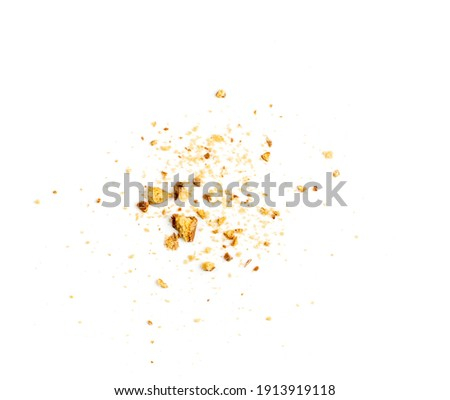 Crumbled chocolate biscuits pieces. Broken butter cookies bites with chocolate coating, soft biscuit crumbs isolated on white background top view