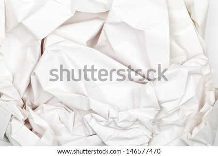 Crumbled empty white packing paper background texture