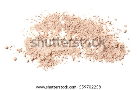 crumbled pink beige powder isolated on white background