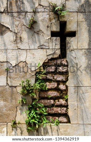Crumbling mausoleum wall with a cross cut in it and plants growing out of the wall, stone and brick  #1394362919