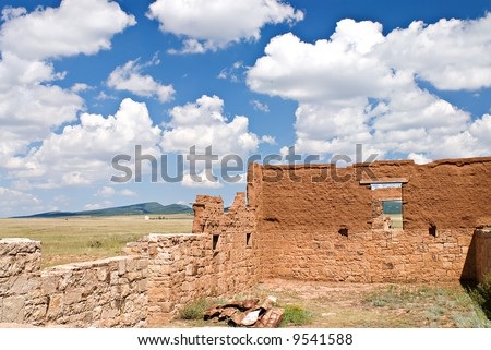 Crumbling old adobe and stone walls of Fort Union, New Mexico outside of Las Vegas, New Mexico