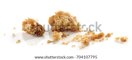 crumbs of cookie macro isolated on white background
