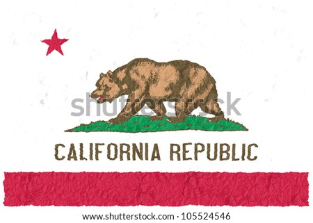 Crumple flag of California American state - stock photo