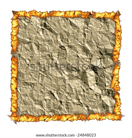 Crumple paper background with torn edges creases and fire