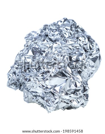 crumpled ball of aluminum foil isolated on white background #198591458