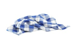Crumpled blue checkered kitchen towel on white background