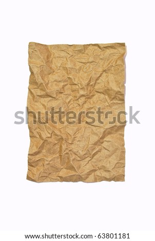 crumpled brown recycle paper isolated