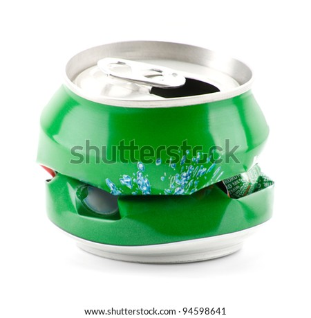 Crumpled can on white background.