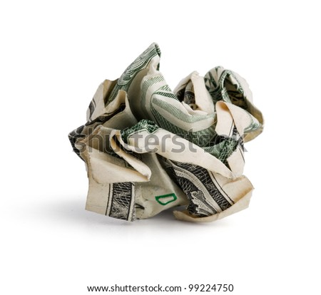 Crumpled dollar bill on a white background